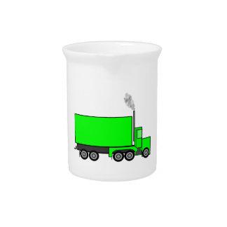 Green Semi-Trailer Truck Drink Pitcher