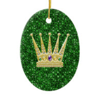 Green Sequin Effect Ornament w/Mardi Gras Crowns
