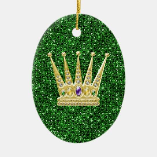Green Sequin Effect Ornament w/Mardi Gras Crowns