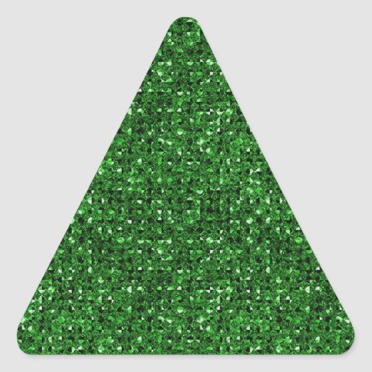 Green Sequin Effect Triangle Sticker Sheets