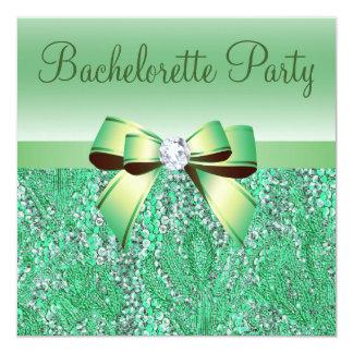 Green Sequins, Bow & Diamond Bachelorette Party Invitation