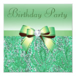"Green Sequins, Bow & Diamond Birthday Party 5.25"" Square Invitation Card"