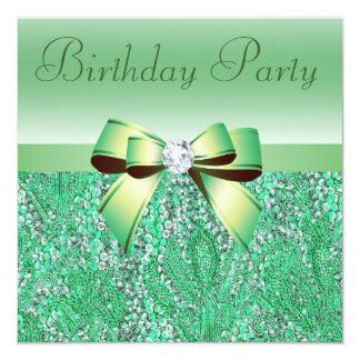 Green Sequins, Bow & Diamond Birthday Party 5.25x5.25 Square Paper Invitation Card