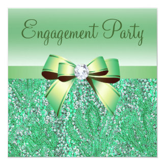 Green Sequins, Bow & Diamond Engagement Party Card
