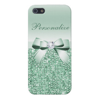 Green Sequins, Bow & Diamond Personalized Cases For iPhone 5