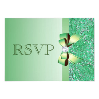 Green Sequins, Bow & Diamond  RSVP Wedding 3.5x5 Paper Invitation Card