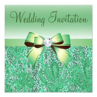 Green Sequins, Bow & Diamond Wedding Invites
