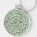 Green Serenity Prayer Keychain