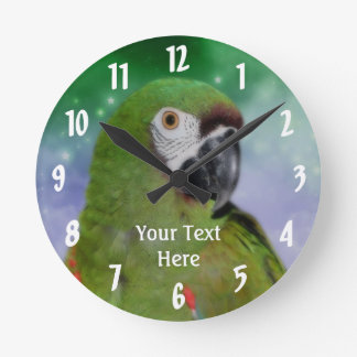 Green Severe Macaw Parrot Animal Round Clock