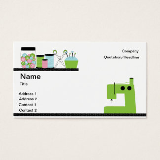 Green Sewing Machine Business Card