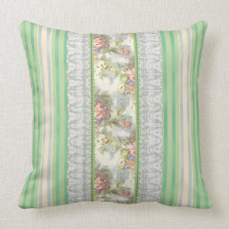 "Green ""Shabby Chic""  Stripes-White & Pink Ros Throw Pillow"