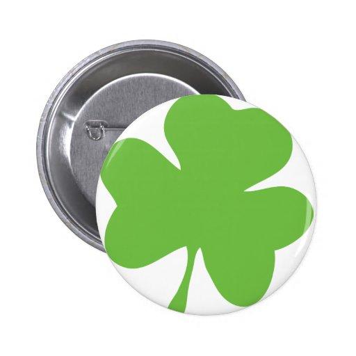 green shamrock pinback button