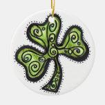 Green Shamrock Christmas Ornaments