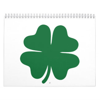 Green shamrock clover calendar