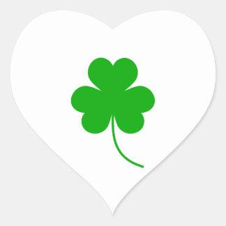 Green Shamrock Clover for St. Patrick's Day Heart Sticker