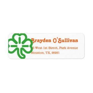 Green Shamrock Clover Irish Colors St Patricks Day Label