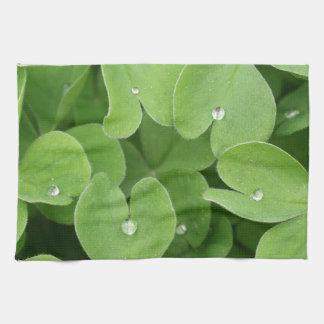 Green shamrock clover leaves hand towel