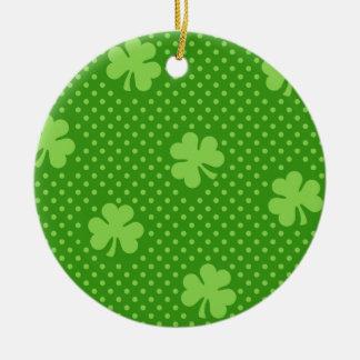 Green Shamrock Clover Pattern Saint Patricks Day Ceramic Ornament