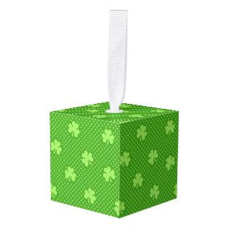 Green Shamrock Clover Pattern Saint Patricks Day Cube Ornament