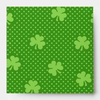 Green Shamrock Clover Pattern Saint Patricks Day Envelope