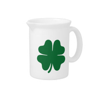 Green shamrock clover pitcher
