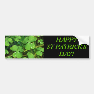 Green Shamrock Clover St Patrick's Day Bumper Stic Bumper Sticker
