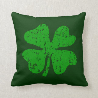 Green shamrock clover St Patricks Day throw pillow