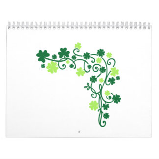 Green shamrock clovers wall calendar