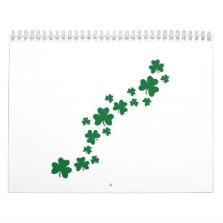 Green shamrock clovers calendars