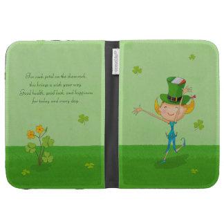 Green Shamrock Clovers & Elves with Leprechaun Hat Kindle Folio Cases