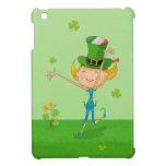 Green Shamrock Clovers & Elves with Leprechaun Hat iPad Mini Case