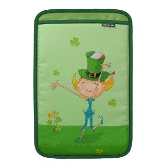 Green Shamrock Clovers & Elves with Leprechaun Hat MacBook Sleeve