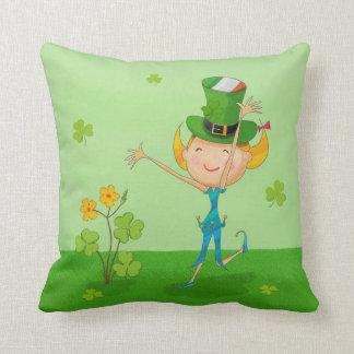 Green Shamrock Clovers & Elves with Leprechaun Hat Throw Pillow