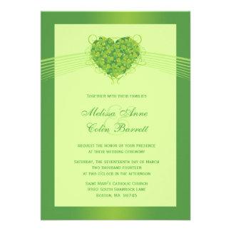 Green shamrock clovers heart wedding invitation