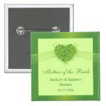 Green shamrock clovers heart wedding party favor buttons