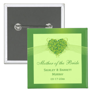 Green shamrock clovers heart wedding party favor 2 inch square button