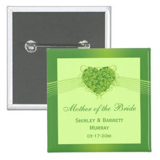 Green shamrock clovers heart wedding party favor pinback button