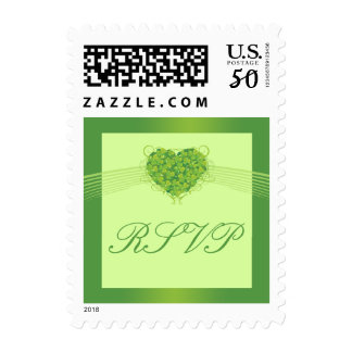 Green shamrock clovers heart wedding RSVP stamp