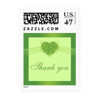 Green shamrock clovers heart wedding thank you postage