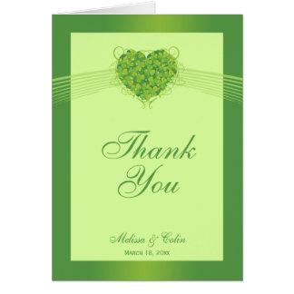 Green shamrock clovers wedding thank you card