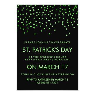 Green Shamrock Confetti on Black St Patrick's Day Card