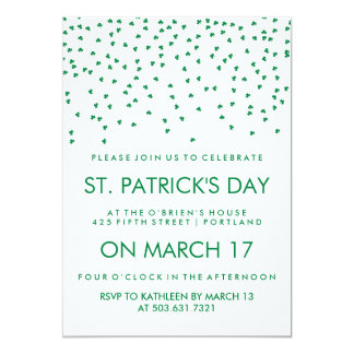 Green Shamrock Confetti on White St Patrick's Day Card