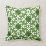 Green Shamrock Damask Throw Pillow
