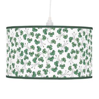 Green Shamrock Ditsy Pattern on White Pendant Lamp