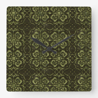 Green Shamrock Faux Stone Wall Clock