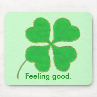 Green Shamrock Feeling good, affirmation mousepads