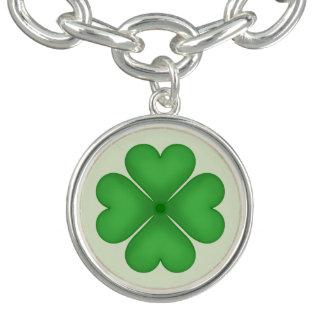 Green Shamrock Four leaf Clover Hearts Charm Bracelets