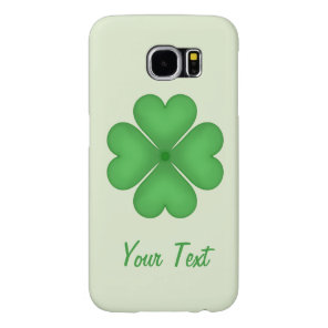 Green Shamrock Four leaf Clover Hearts Customizabl Samsung Galaxy S6 Case