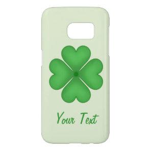 Green Shamrock Four leaf Clover Hearts Customizabl Samsung Galaxy S7 Case