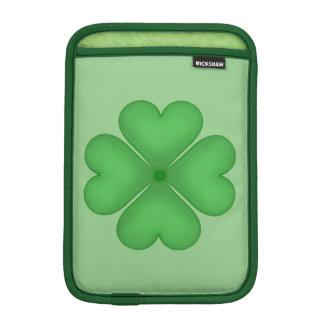 Green Shamrock Four leaf Clover Hearts iPad Mini Sleeves